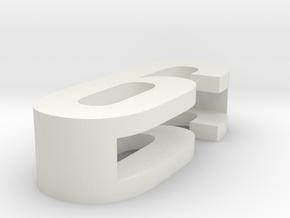 CHOKER SLIDE LETTER 6 1⅛, 1¼, 1½, 1¾, 2 inch size in White Natural Versatile Plastic: Extra Small