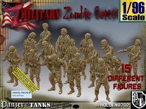 1/96 Army Zombies Set001 in Smooth Fine Detail Plastic