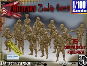 1/100 Army Zombies Set001 in Smooth Fine Detail Plastic