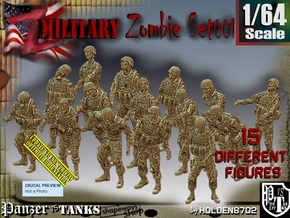 1/64 Army Zombies Set001 in Smooth Fine Detail Plastic