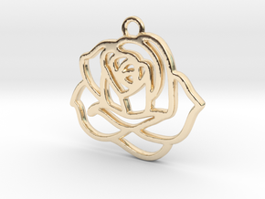 Rose Pendant in 14K Yellow Gold