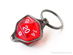 D20 Key Chain / Key Ring 20 mm in Polished Bronzed-Silver Steel