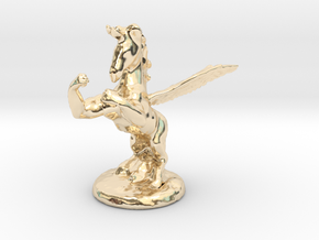 Wada Fu The Flying Fighting Unicorn™ in 14k Gold Plated Brass: Small