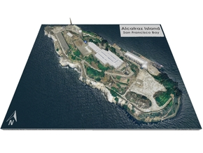 "Alcatraz Island Map: 8""x10"" in Glossy Full Color Sandstone"