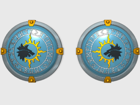 Sun Wolves - Round Power Shields (L&R) in Smooth Fine Detail Plastic: Small
