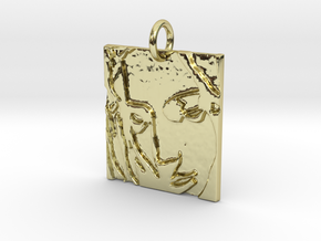 Mother Mary Abstract Pendant in 18k Gold Plated Brass: Extra Small