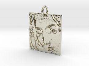 Mother Mary Abstract Pendant in 14k White Gold: Extra Small