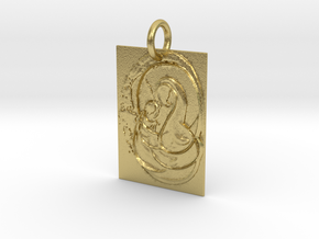 Mother Mary and Infant Christ Abstract Pendant in Natural Brass: Extra Small