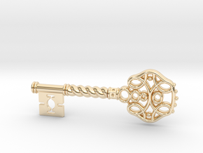 Decorative Key Pendant in 14K Yellow Gold