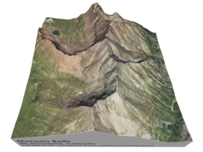 "Maroon Bells Map: 6"" in Glossy Full Color Sandstone"