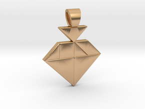 Strawberry tangram [pendant] in Polished Bronze