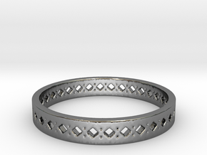 Diamond Band in Fine Detail Polished Silver