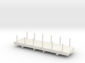 On30 24ft flatcar with stakes  in White Natural Versatile Plastic