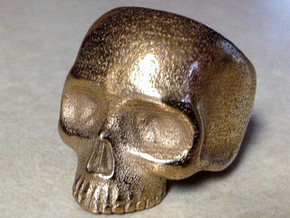 Skull Ring V2 - Size 12 in Polished Bronzed Silver Steel