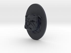 Bulldog Face + Half-Voronoi Mask (002) in Black Professional Plastic