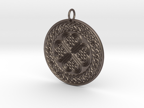 Celtic Shield Medallion - wearable steel in Polished Bronzed-Silver Steel