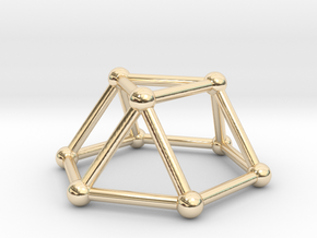 0726 J03 Triangular Cupola V&E (a=1cm) #2 in 14k Gold Plated Brass