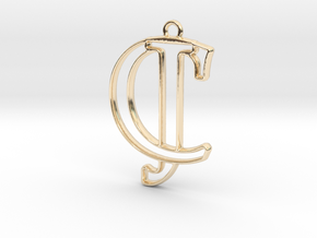 Initials C&J monogram in 14k Gold Plated Brass
