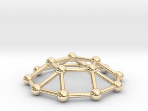 0733 J05 Pentagonal Cupola V&E (a=1cm) #3 in 14k Gold Plated Brass