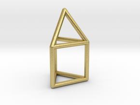 J07 Elongated Triangular Pyramid E (a=1cm) #1 in Natural Brass
