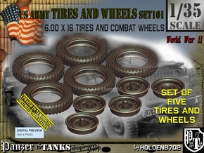1/35 600x16 Tires+Wheels Set101 in Smooth Fine Detail Plastic
