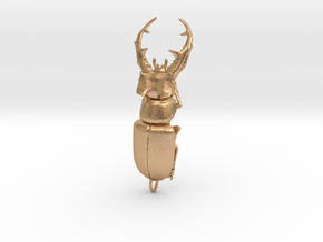 Stag beetle with open jaws in Natural Bronze