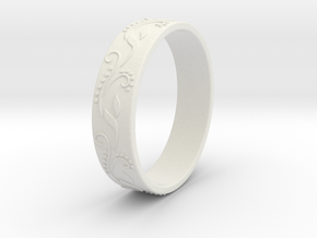 Floral ring in White Natural Versatile Plastic