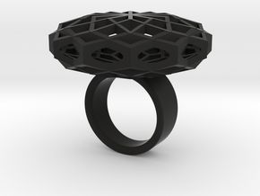 SACRED HEXAGON RING L in Black Natural Versatile Plastic