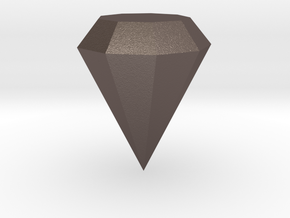 Diamond in Polished Bronzed-Silver Steel