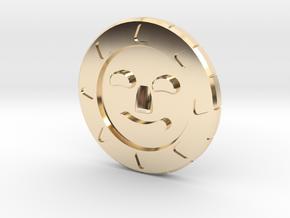 Golden Sun Coin in 14k Gold Plated Brass