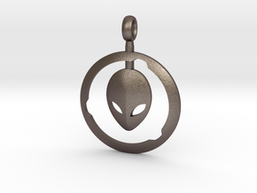 Alien Pendant  in Polished Bronzed-Silver Steel