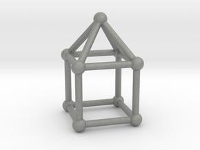 0741 J08 Elongated Square Pyramid V&E (a=1cm) #2 in Gray PA12