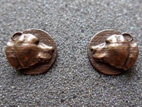 Bear Head Cufflinks in Natural Bronze