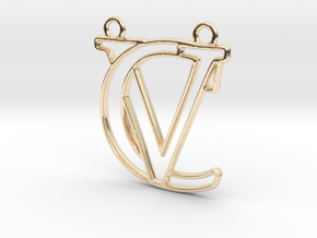 Initials C&V monogram in 14k Gold Plated Brass