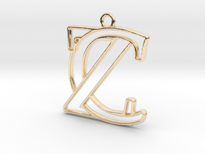 Initials C&Z monogram in 14k Gold Plated Brass
