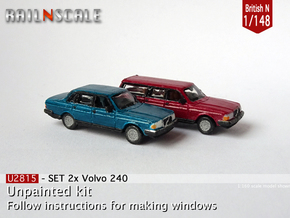 SET 2x Volvo 240 (British N 1:148) in Smoothest Fine Detail Plastic
