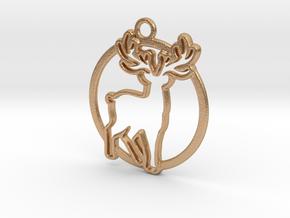 Deer & circle intertwined Pendant in Natural Bronze