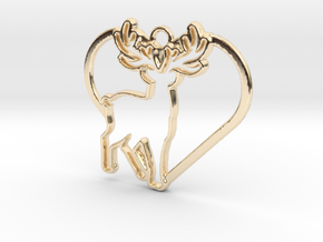 Deer & heart intertwined Pendant in 14k Gold Plated Brass