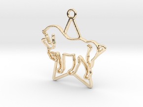 Horse & star intertwined Pendant in 14k Gold Plated Brass
