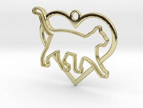 Cat & heart intertwined Pendant in 18k Gold Plated Brass