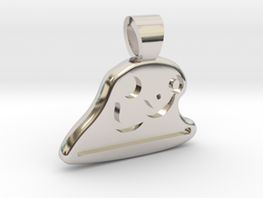 Table tennis [pendant] in Rhodium Plated Brass