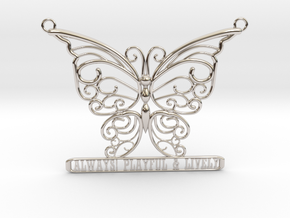 Inspiring Lively Butterfly Pendant in Rhodium Plated Brass