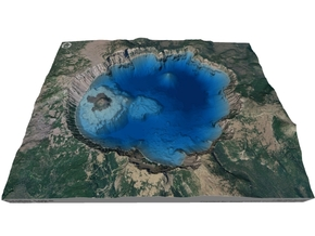 Crater Lake Bathymetry Map in Matte Full Color Sandstone