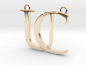 Initials C&U monogram in 14k Gold Plated Brass