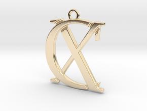 Initials C&X monogram in 14k Gold Plated Brass