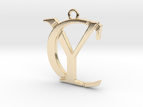 Initials C&Y monogram in 14k Gold Plated Brass
