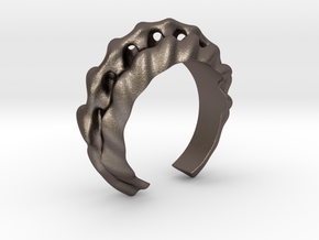 Echoing Sound Ring in Polished Bronzed-Silver Steel