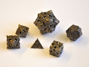 Fire Dice Set (Small Number D20) - Balanced in Polished Bronze Steel