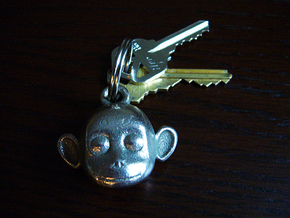 Monkey face key chain in Polished Bronzed Silver Steel