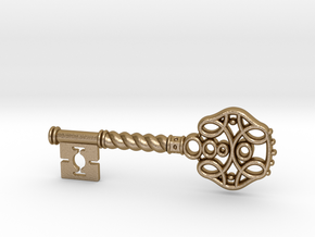Decorative Key Pendant in Polished Gold Steel